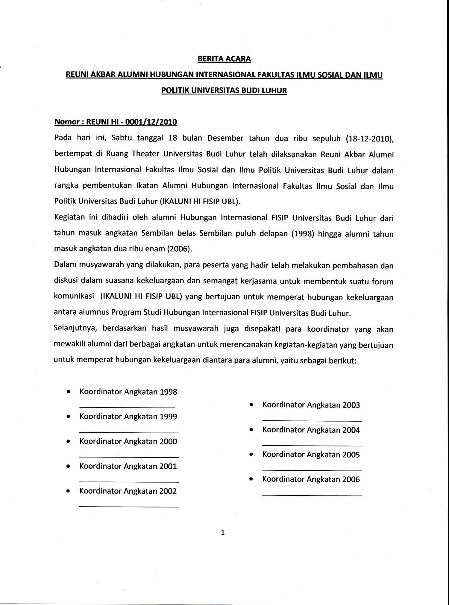 Berita Acara Reuni Akbar Alumni Hi Fisip Ubl 18182010 Fakultas
