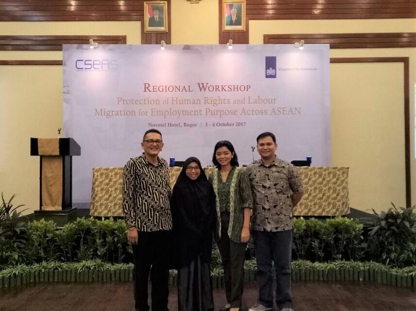 """Dosen HI, FISIP, UBL ikuti Regional Workshop """"Protection of Human Rights and Labour Imigration for Employment Purpose Across ASEAN"""" dilaksanakan oleh CSEAS bekerjasama dengan Netherlands Embassy in Jakarta di Novottel, Bogor."""