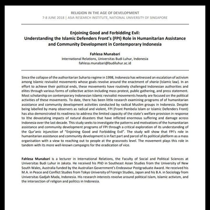 """""""Bapak Fahlesa Munabari, Ph.D. (Dekan FISIP Universitas Budi Luhur) sebagai Peneliti Tamu di Asia Research Institute, National University of Singapore"""""""